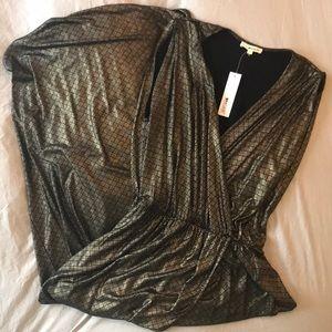 NWT Gold/black Faux Wrap Dress - Size S